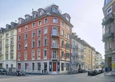 Wilhelminian style residential buildings renovated and preserved facade